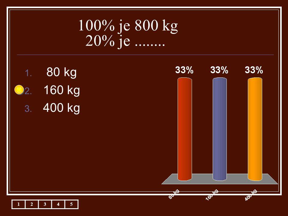 100% je 800 kg 20% je........ 1. 80 kg 2. 160 kg 3. 400 kg 12345