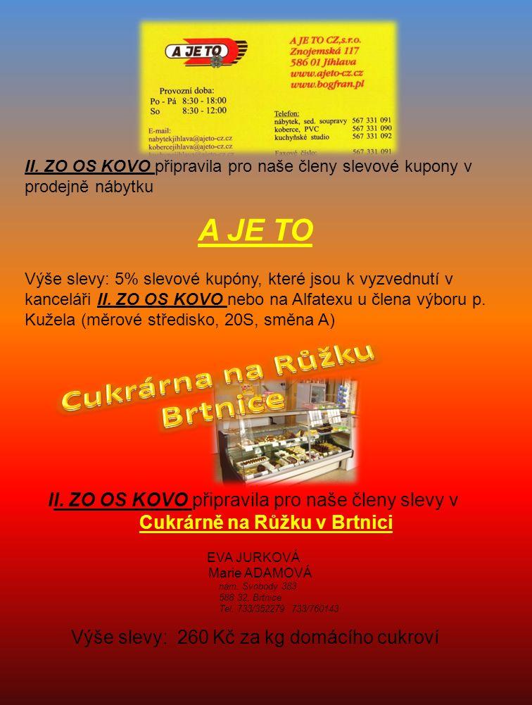II.ZO OS KOVO připravila pro naše členy poukazy do lékárny u Kauflandu v Jihlavě.