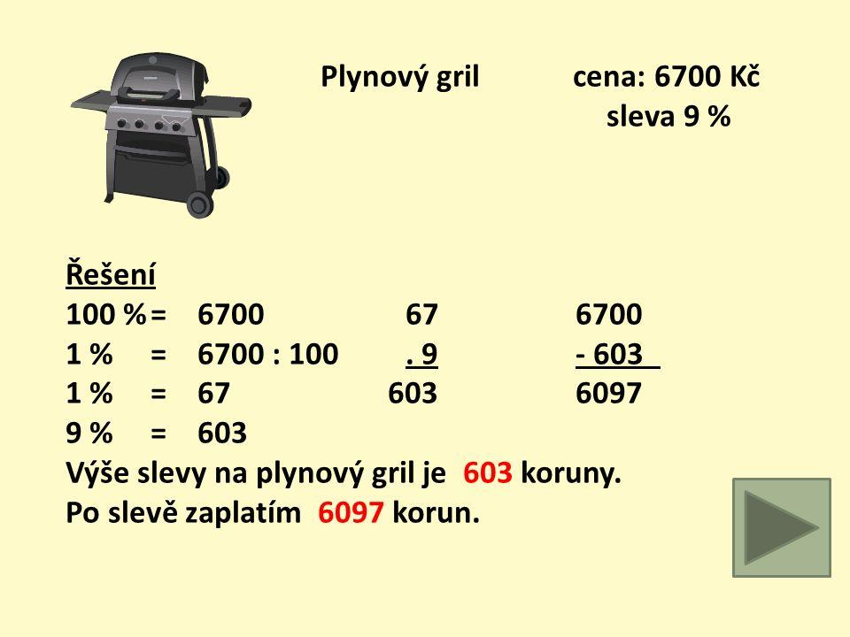 Motorová pila cena: 11900 Kč sleva 19 % Řešení 100 %= 11900 11911900 1 % = 11900 : 100. 19- 2261 1 % = 1190 1071 9639 19 %= 2261 119 2261 Výše slevy n