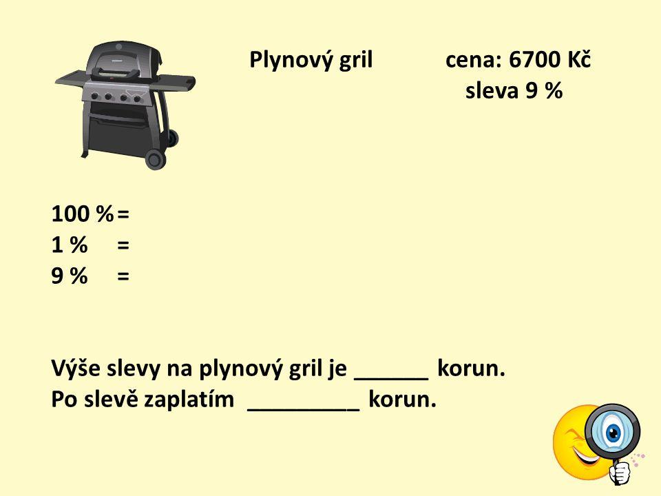 Motorová pila cena: 11900 Kč sleva 19 % 100 %= 1 % = 19 %= Výše slevy na motorovou pilu je ______ korun. Po slevě zaplatím _________ korun.