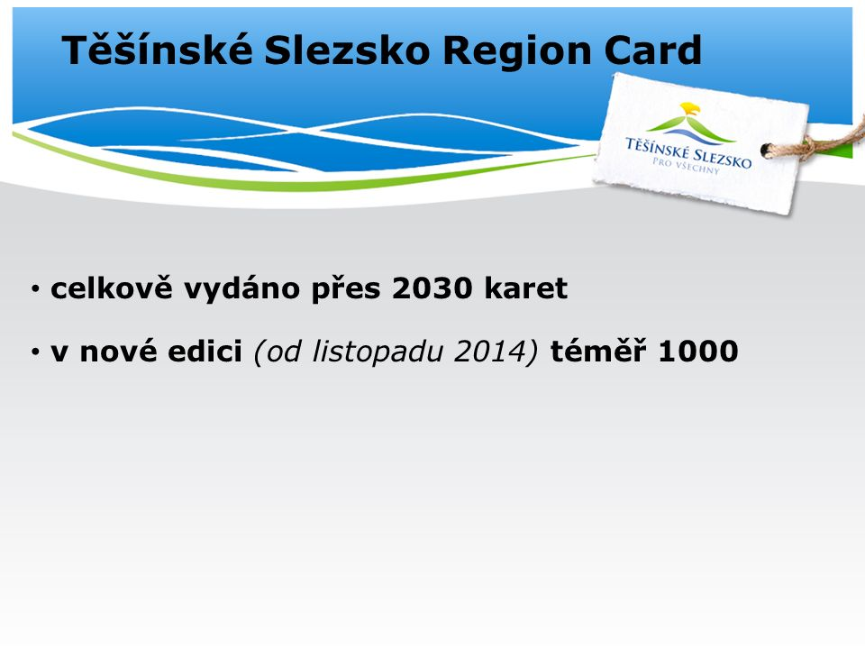 Těšínské Slezsko Region Card celkově vydáno přes 2030 karet v nové edici (od listopadu 2014) téměř 1000