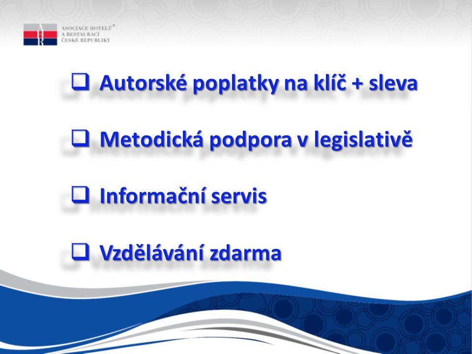  Autorské poplatky na klíč + sleva  Metodická podpora v legislativě  Informační servis  Vzdělávání zdarma  Autorské poplatky na klíč + sleva  Metodická podpora v legislativě  Informační servis  Vzdělávání zdarma