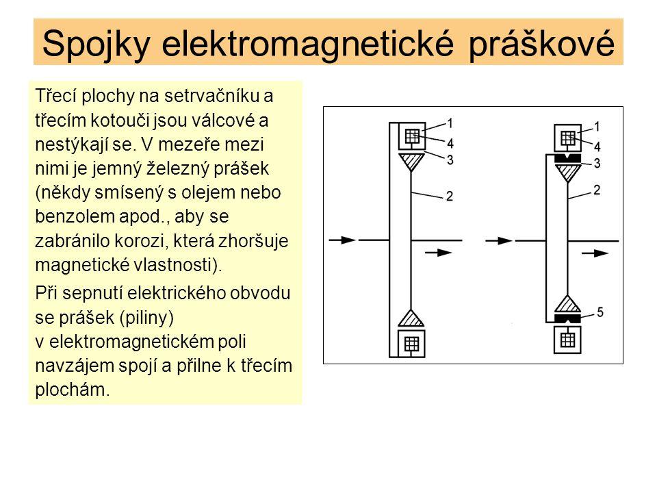 Spojky elektromagnetické práškové Třecí plochy na setrvačníku a třecím kotouči jsou válcové a nestýkají se.
