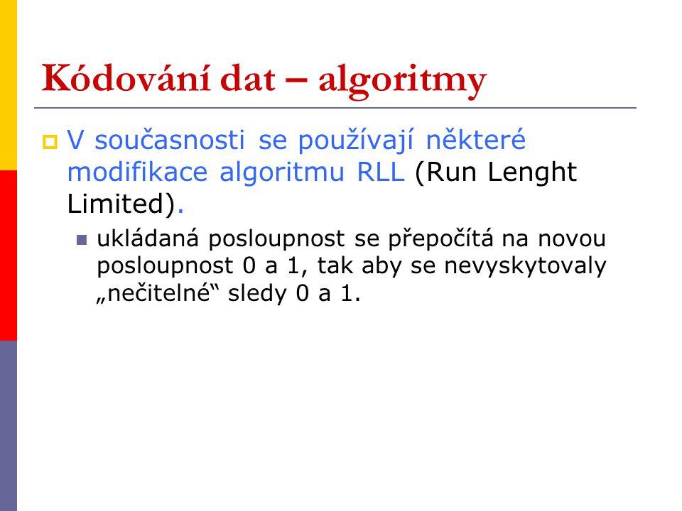 Kódování dat – algoritmy  V současnosti se používají některé modifikace algoritmu RLL (Run Lenght Limited).