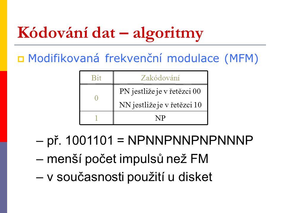 Kódování dat – algoritmy  Modifikovaná frekvenční modulace (MFM) BitZakódování 0 PN jestliže je v řetězci 00 1NP NN jestliže je v řetězci 10 – př.