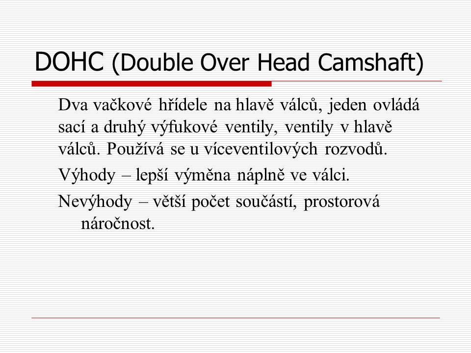 DOHC (Double Over Head Camshaft) Dva vačkové hřídele na hlavě válců, jeden ovládá sací a druhý výfukové ventily, ventily v hlavě válců.