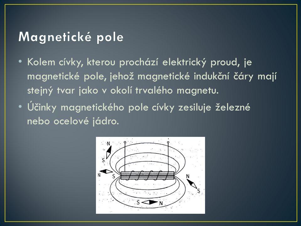 Kolem cívky, kterou prochází elektrický proud, je magnetické pole, jehož magnetické indukční čáry mají stejný tvar jako v okolí trvalého magnetu.