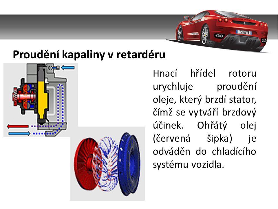 Hnací hřídel rotoru urychluje proudění oleje, který brzdí stator, čímž se vytváří brzdový účinek.