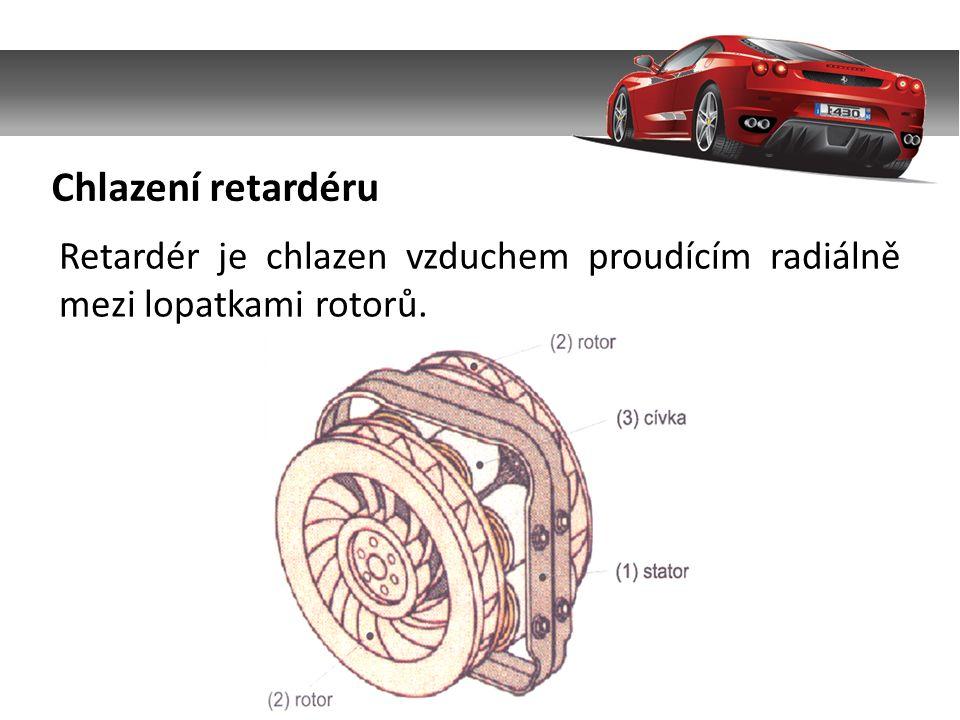 Chlazení retardéru Retardér je chlazen vzduchem proudícím radiálně mezi lopatkami rotorů.