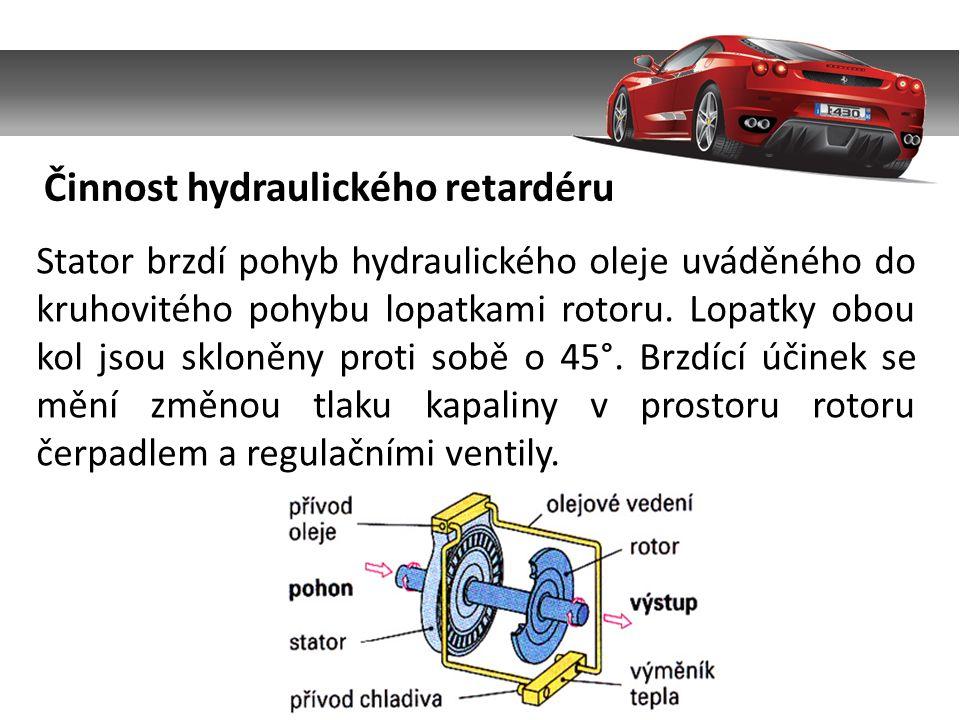 Činnost hydraulického retardéru Stator brzdí pohyb hydraulického oleje uváděného do kruhovitého pohybu lopatkami rotoru.