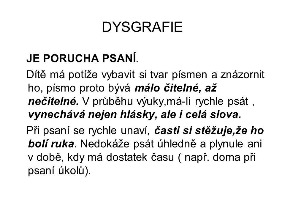 DYSGRAFIE JE PORUCHA PSANÍ.