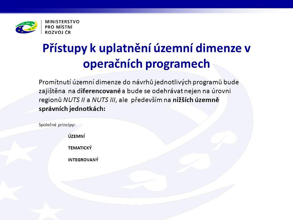 Přístupy k uplatnění územní dimenze v operačních programech Promítnutí územní dimenze do návrhů jednotlivých programů bude zajištěna na diferencované a bude se odehrávat nejen na úrovni regionů NUTS II a NUTS III, ale především na nižších územně správních jednotkách: Společné principy: ÚZEMNÍ TEMATICKÝ INTEGROVANÝ