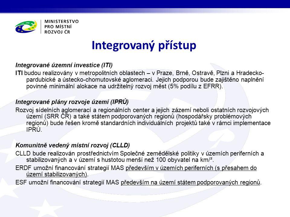 Integrované územní investice (ITI) ITI budou realizovány v metropolitních oblastech – v Praze, Brně, Ostravě, Plzni a Hradecko- pardubické a ústecko-chomutovské aglomeraci.