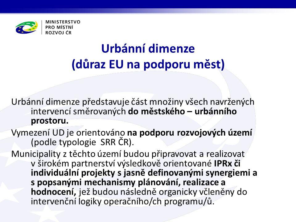 Urbánní dimenze (důraz EU na podporu měst) Urbánní dimenze představuje část množiny všech navržených intervencí směrovaných do městského – urbánního prostoru.