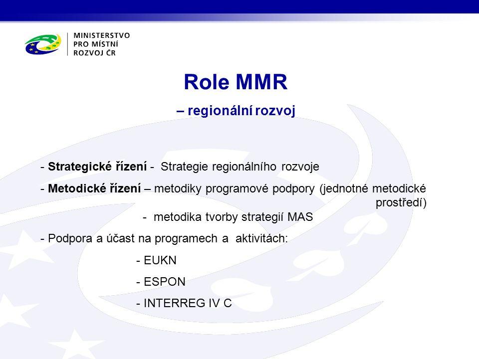 Role MMR – regionální rozvoj - Strategické řízení - Strategie regionálního rozvoje - Metodické řízení – metodiky programové podpory (jednotné metodické prostředí) - metodika tvorby strategií MAS - Podpora a účast na programech a aktivitách: - EUKN - ESPON - INTERREG IV C