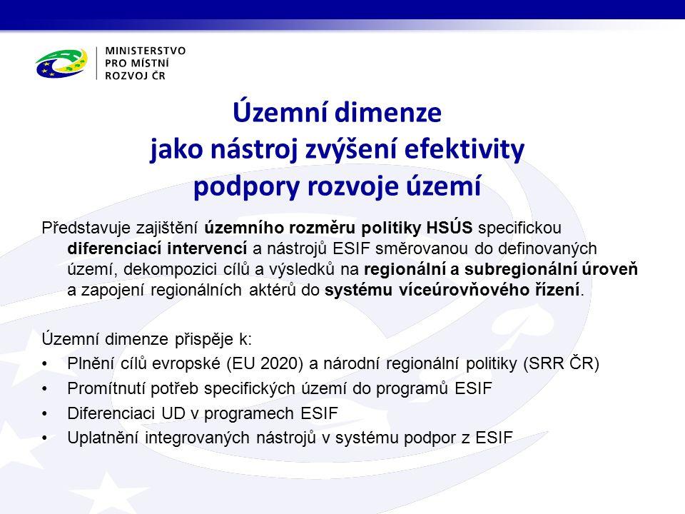 Snížit zásadní rozdíly v sociálně ekonomické úrovni regionů ČR; zlepšit podmínky pro trvale udržitelný a vyvážený rozvoj území ČR; účinným využitím územně podmíněným rozvojových faktorů zvýšit konkurenceschopnost regionů, měst a obcí; územním cílením intervencí zvýšit efektivnost využití veřejných zdrojů při naplňování cílů politik ESIF v ČR; zajistit účinné řízení regionálního a místního rozvoje na bázi principu partnerství a víceúrovňové správy.