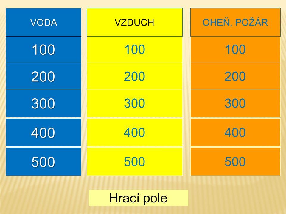 100 200 Hrací pole VZDUCH 300 400 500 100 200 VODA OHEŇ, POŽÁR 200 300 400 500