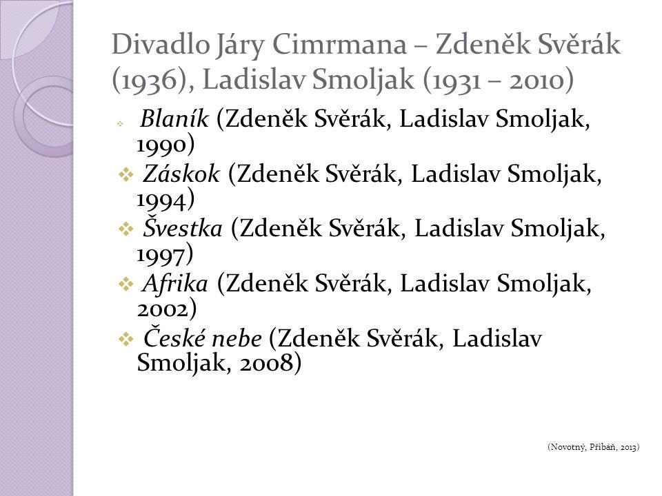 Divadlo Járy Cimrmana – Zdeněk Svěrák (1936), Ladislav Smoljak (1931 – 2010)  Blaník (Zdeněk Svěrák, Ladislav Smoljak, 1990)  Záskok (Zdeněk Svěrák, Ladislav Smoljak, 1994)  Švestka (Zdeněk Svěrák, Ladislav Smoljak, 1997)  Afrika (Zdeněk Svěrák, Ladislav Smoljak, 2002)  České nebe (Zdeněk Svěrák, Ladislav Smoljak, 2008) (Novotný, Přibáň, 2013)