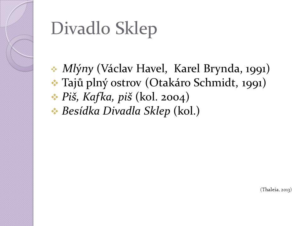 Divadlo Sklep  Mlýny (Václav Havel, Karel Brynda, 1991)  Tajů plný ostrov (Otakáro Schmidt, 1991)  Piš, Kafka, piš (kol.