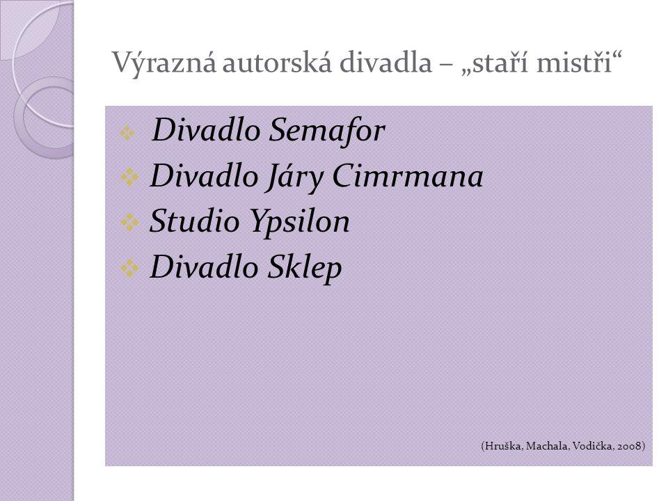 """Výrazná autorská divadla – """"staří mistři  Divadlo Semafor  Divadlo Járy Cimrmana  Studio Ypsilon  Divadlo Sklep (Hruška, Machala, Vodička, 2008)"""