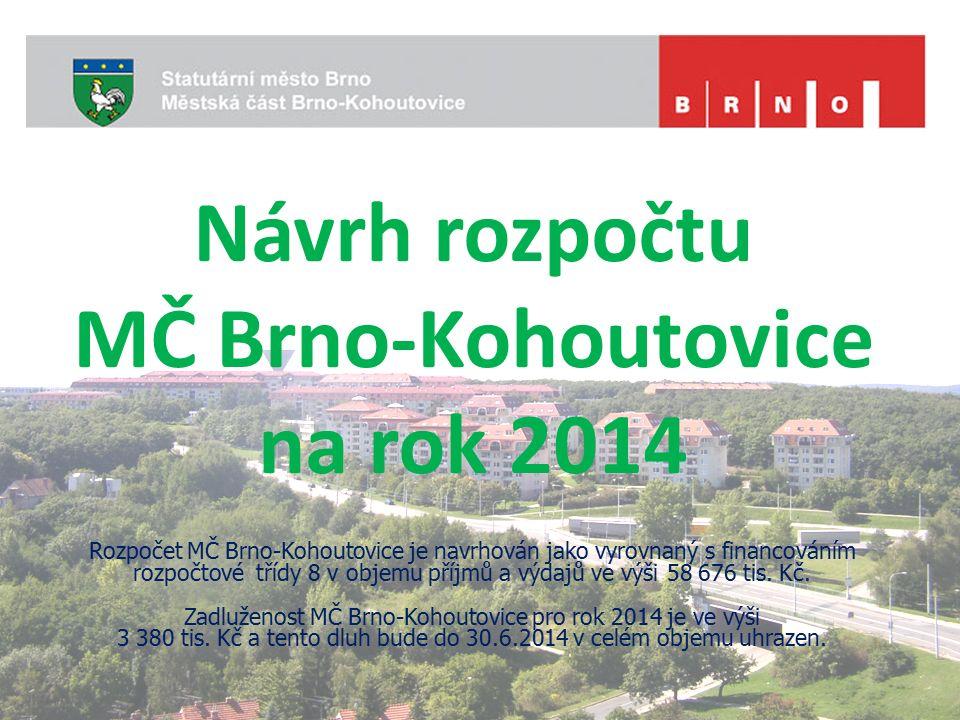 Návrh rozpočtu MČ Brno-Kohoutovice na rok 2014 Rozpočet MČ Brno-Kohoutovice je navrhován jako vyrovnaný s financováním rozpočtové třídy 8 v objemu příjmů a výdajů ve výši 58 676 tis.