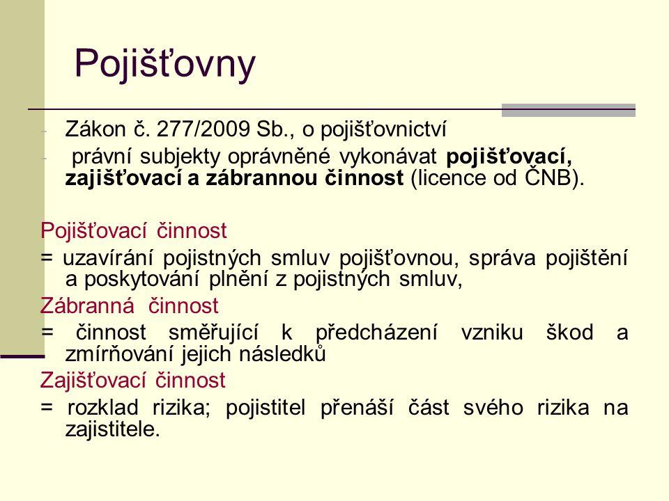 Pojišťovny - Zákon č.