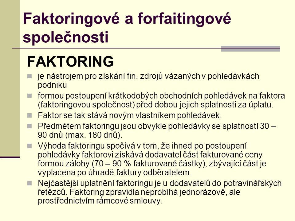 Faktoringové a forfaitingové společnosti FAKTORING je nástrojem pro získání fin.