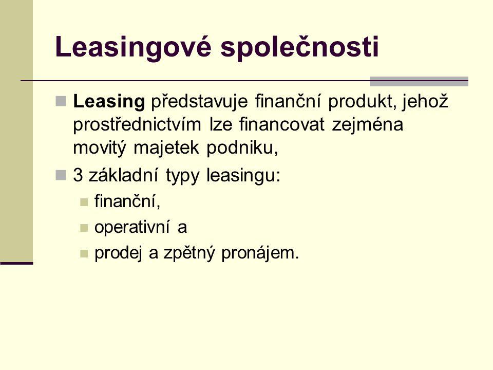 Leasingové společnosti Leasing představuje finanční produkt, jehož prostřednictvím lze financovat zejména movitý majetek podniku, 3 základní typy leasingu: finanční, operativní a prodej a zpětný pronájem.