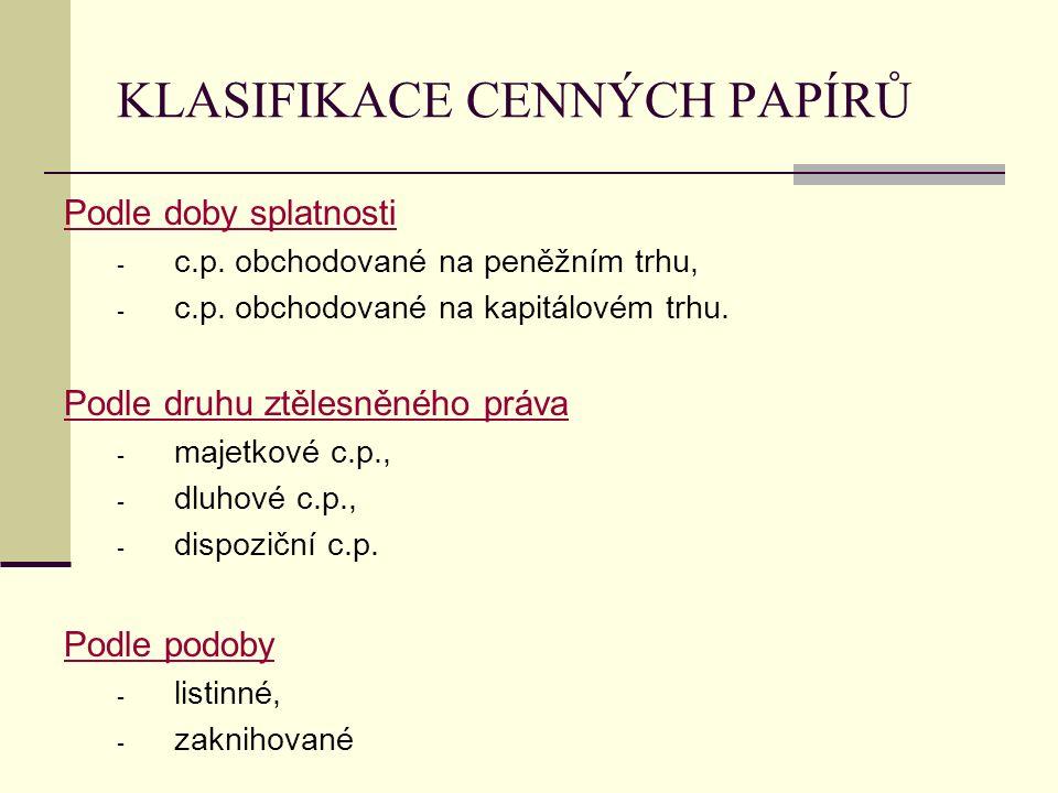 KLASIFIKACE CENNÝCH PAPÍRŮ Podle doby splatnosti - c.p.