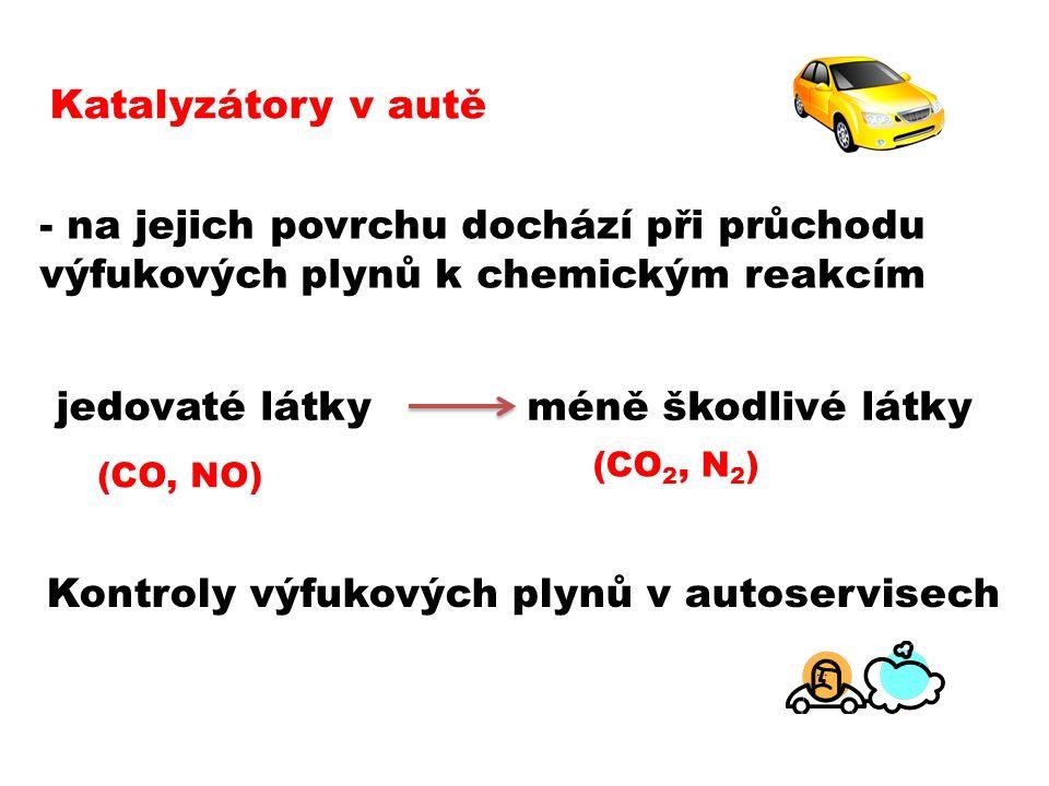 Katalyzátory v autě - na jejich povrchu dochází při průchodu výfukových plynů k chemickým reakcím jedovaté látky (CO, NO) méně škodlivé látky (CO 2, N 2 ) Kontroly výfukových plynů v autoservisech