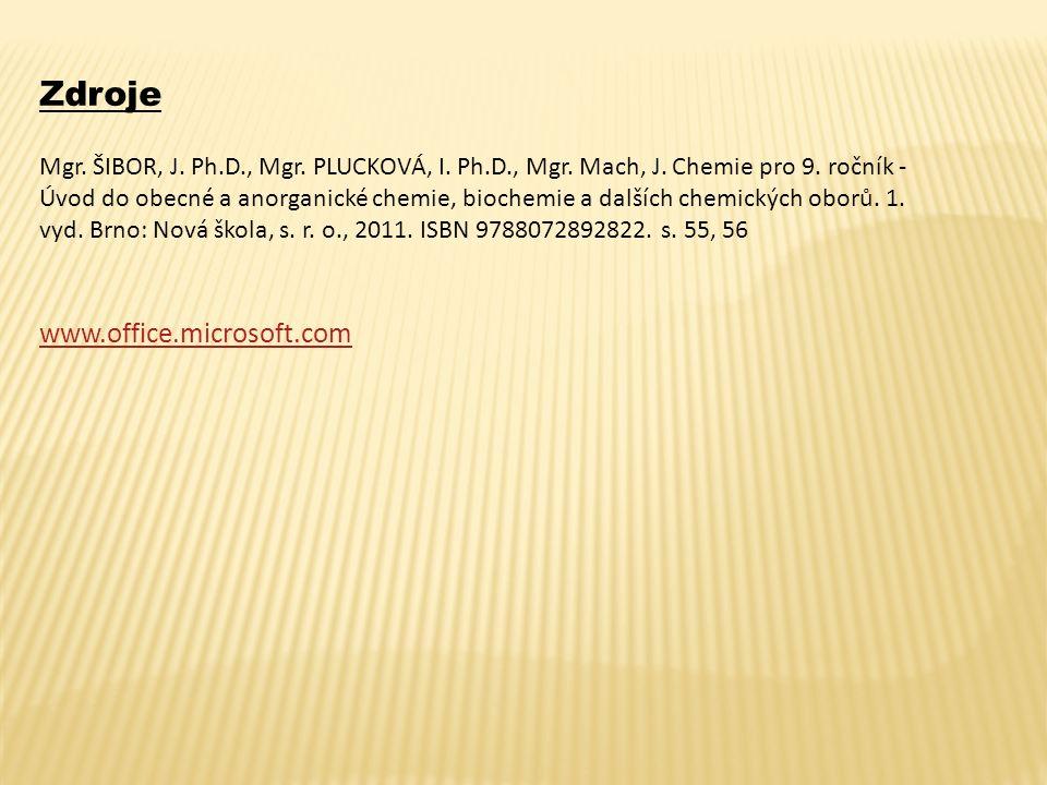 Zdroje Mgr. ŠIBOR, J. Ph.D., Mgr. PLUCKOVÁ, I. Ph.D., Mgr. Mach, J. Chemie pro 9. ročník - Úvod do obecné a anorganické chemie, biochemie a dalších ch