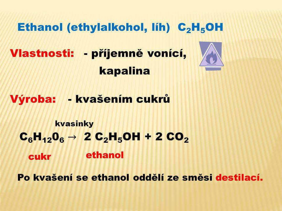 Ethanol (ethylalkohol, líh) C 2 H 5 OH Vlastnosti:- příjemně vonící, kapalina Výroba:- kvašením cukrů kvasinky cukr ethanol Po kvašení se ethanol oddělí ze směsi destilací.