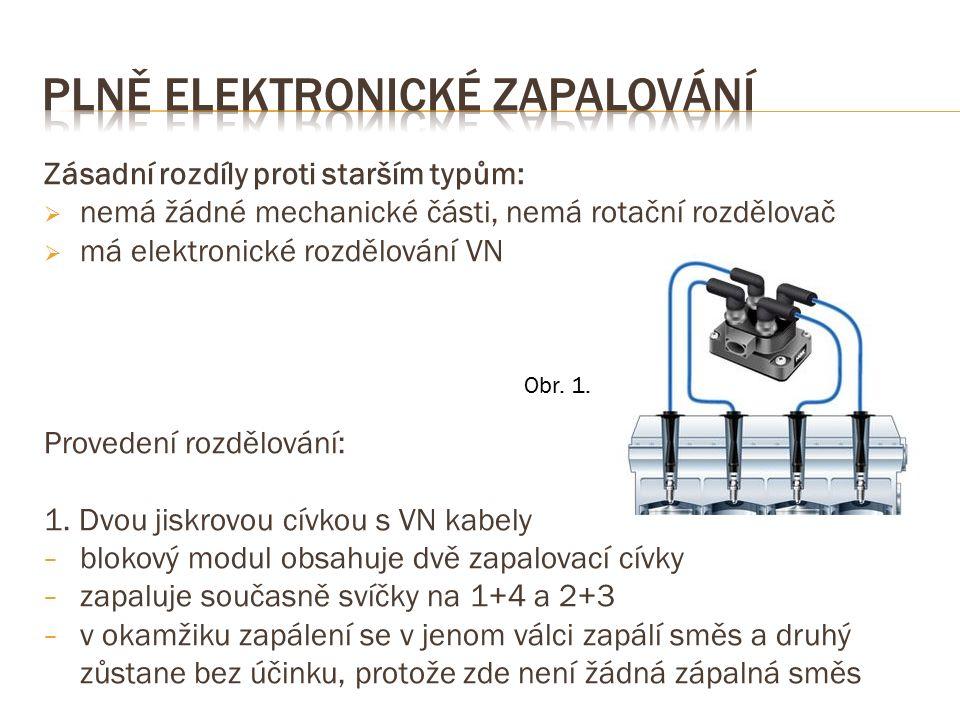 Zásadní rozdíly proti starším typům:  nemá žádné mechanické části, nemá rotační rozdělovač  má elektronické rozdělování VN Provedení rozdělování: 1.