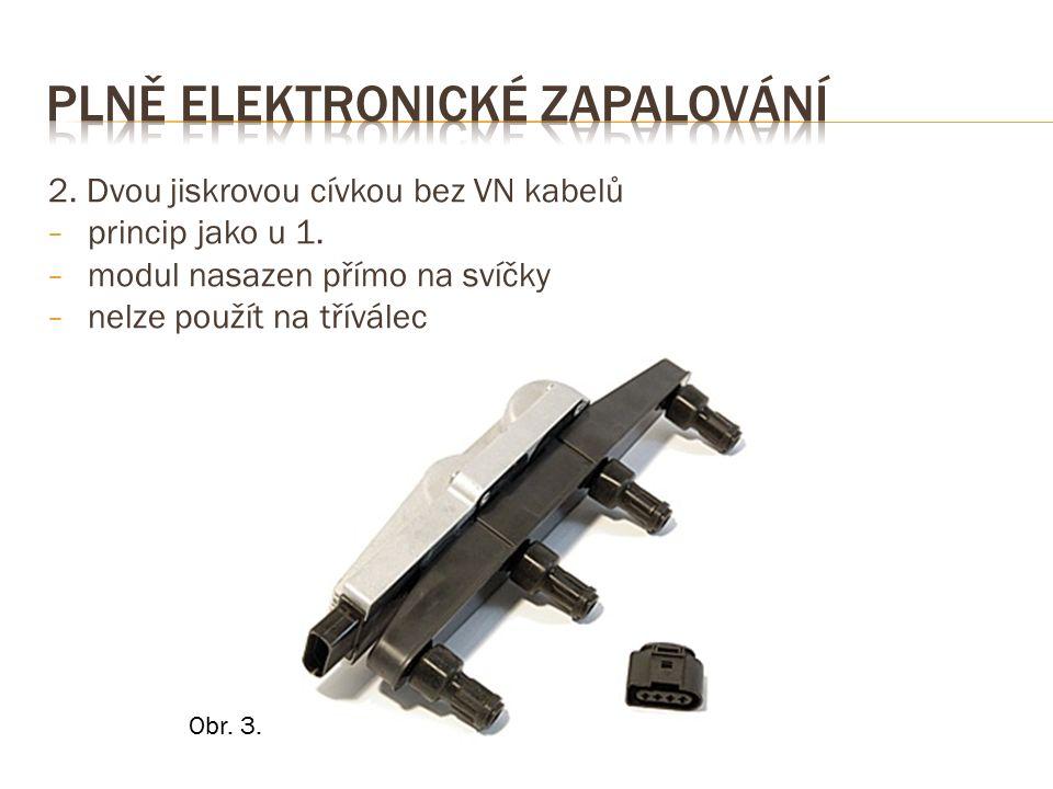 2. Dvou jiskrovou cívkou bez VN kabelů − princip jako u 1.