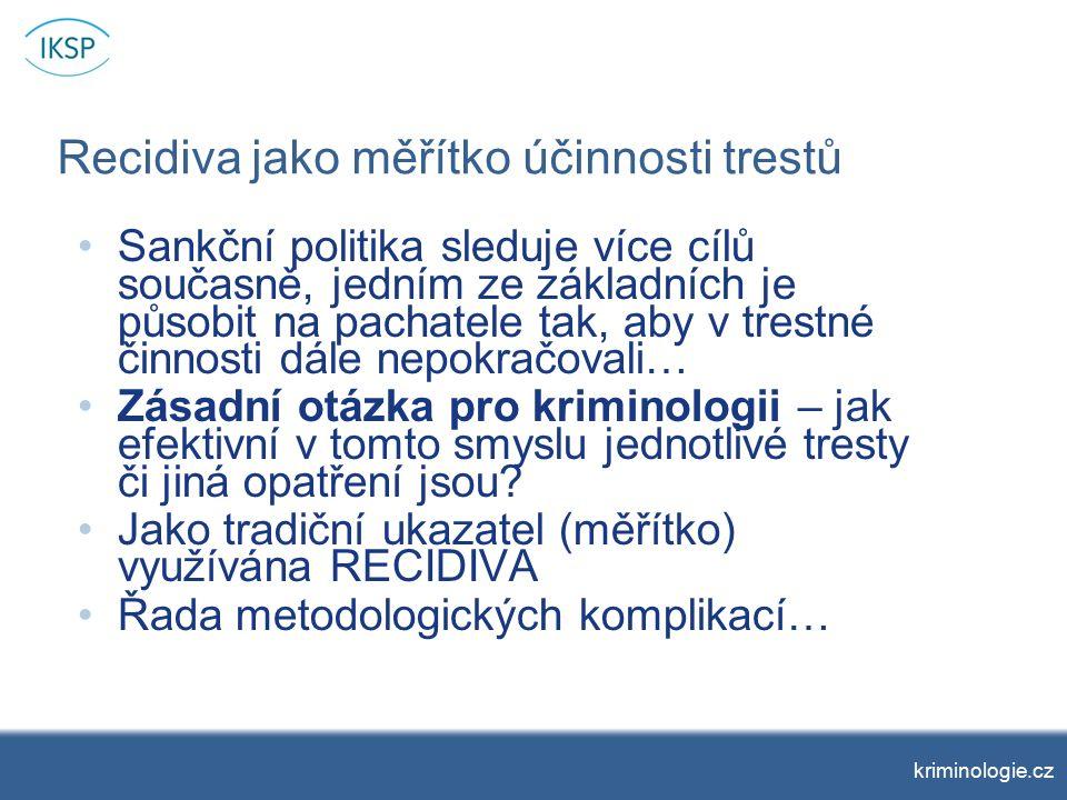 Recidiva a první odsouzení (průměrný počet nových záznamů) kriminologie.cz
