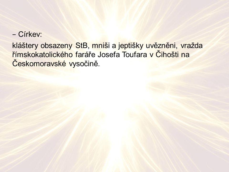 − Církev: kláštery obsazeny StB, mniši a jeptišky uvězněni, vražda římskokatolického faráře Josefa Toufara v Čihošti na Českomoravské vysočině.