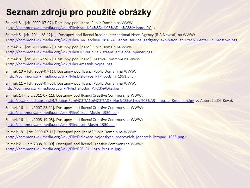 Seznam zdrojů pro použité obrázky Snímek 3 – [cit.