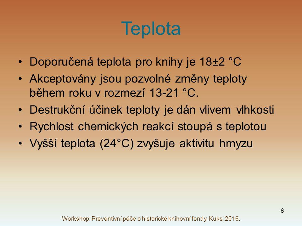 Teplota Doporučená teplota pro knihy je 18±2 °C Akceptovány jsou pozvolné změny teploty během roku v rozmezí 13-21 °C. Destrukční účinek teploty je dá