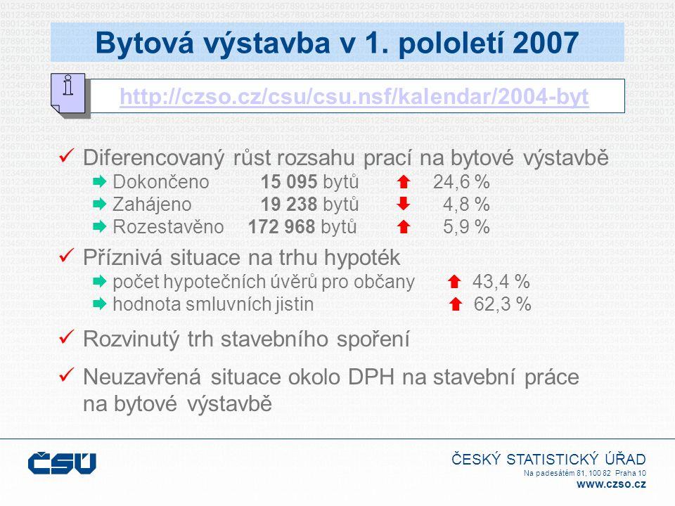 ČESKÝ STATISTICKÝ ÚŘAD Na padesátém 81, 100 82 Praha 10 www.czso.cz Bytová výstavba v 1. pololetí 2007 http://czso.cz/csu/csu.nsf/kalendar/2004-byt Di