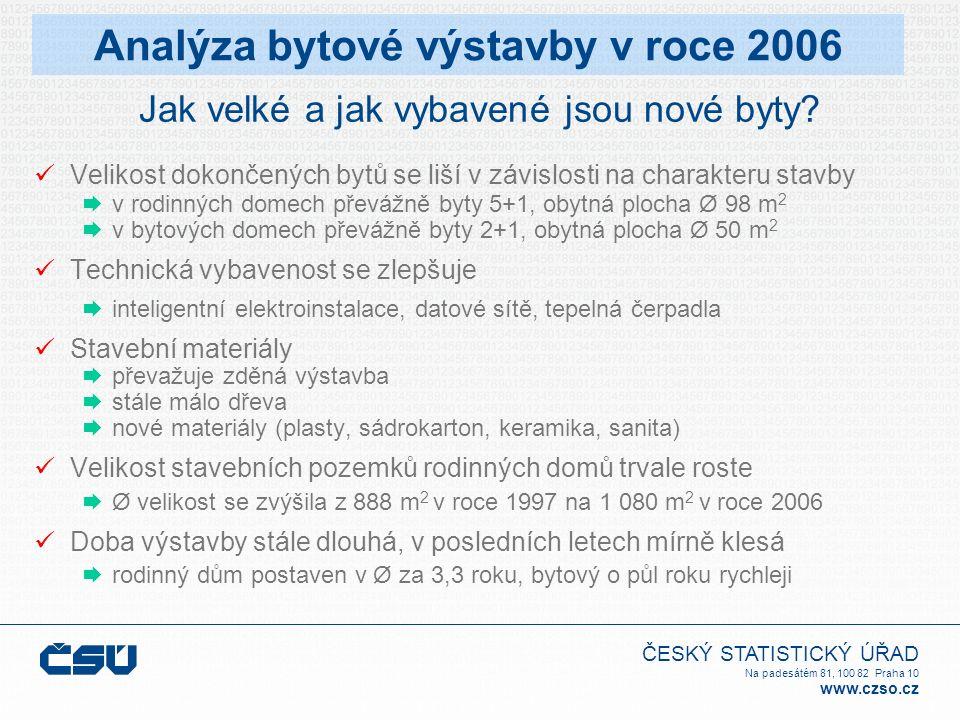ČESKÝ STATISTICKÝ ÚŘAD Na padesátém 81, 100 82 Praha 10 www.czso.cz Jak velké a jak vybavené jsou nové byty? Velikost dokončených bytů se liší v závis