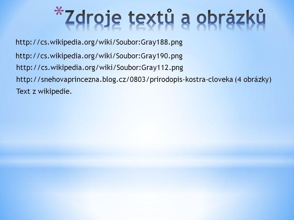 http://cs.wikipedia.org/wiki/Soubor:Gray188.png http://cs.wikipedia.org/wiki/Soubor:Gray190.png http://cs.wikipedia.org/wiki/Soubor:Gray112.png http://snehovaprincezna.blog.cz/0803/prirodopis-kostra-cloveka (4 obrázky) Text z wikipedie.