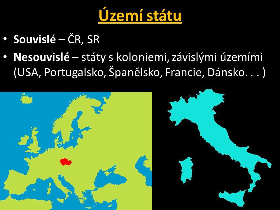 Území státu Souvislé – ČR, SR Nesouvislé – státy s koloniemi, závislými územími (USA, Portugalsko, Španělsko, Francie, Dánsko...