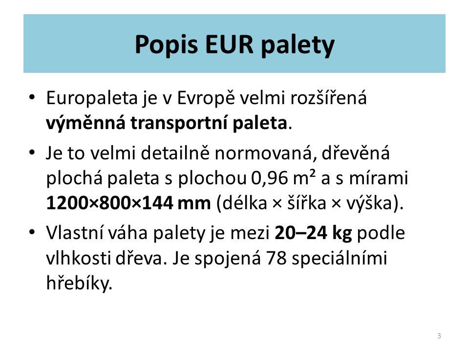 Popis EUR palety Europaleta je v Evropě velmi rozšířená výměnná transportní paleta. Je to velmi detailně normovaná, dřevěná plochá paleta s plochou 0,