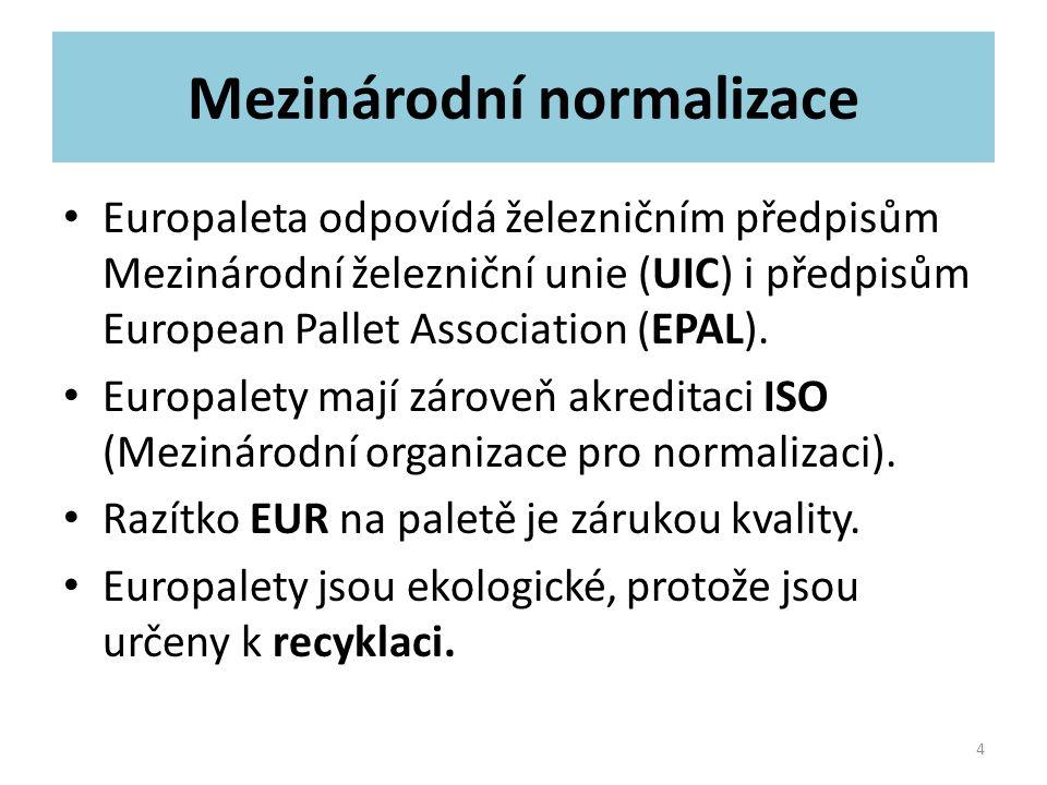 Mezinárodní normalizace Europaleta odpovídá železničním předpisům Mezinárodní železniční unie (UIC) i předpisům European Pallet Association (EPAL). Eu