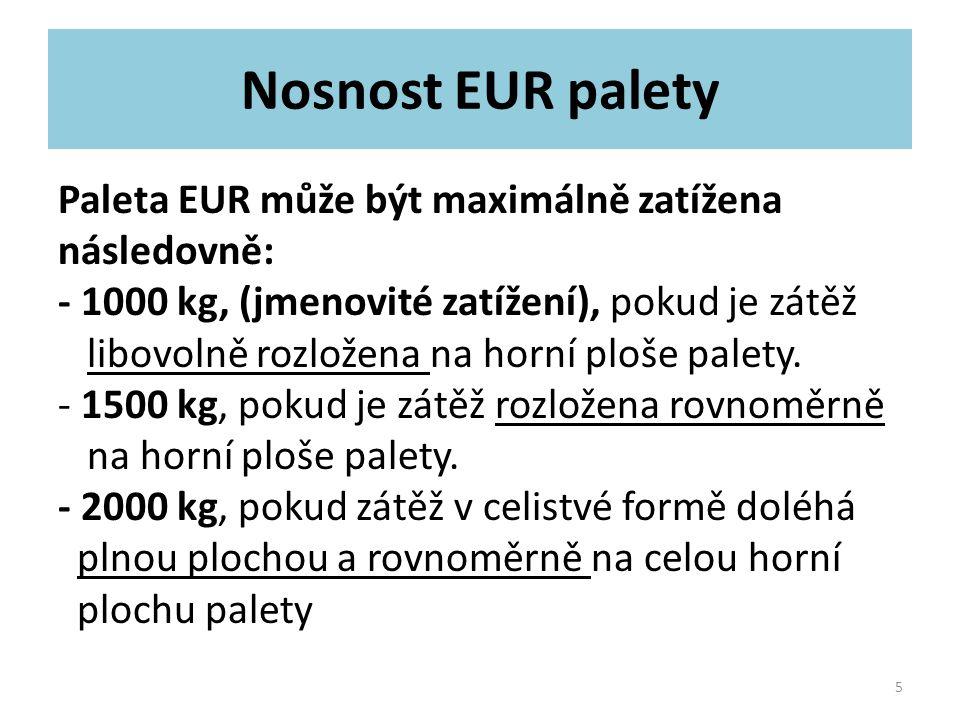 Nosnost EUR palety Paleta EUR může být maximálně zatížena následovně: - 1000 kg, (jmenovité zatížení), pokud je zátěž libovolně rozložena na horní plo