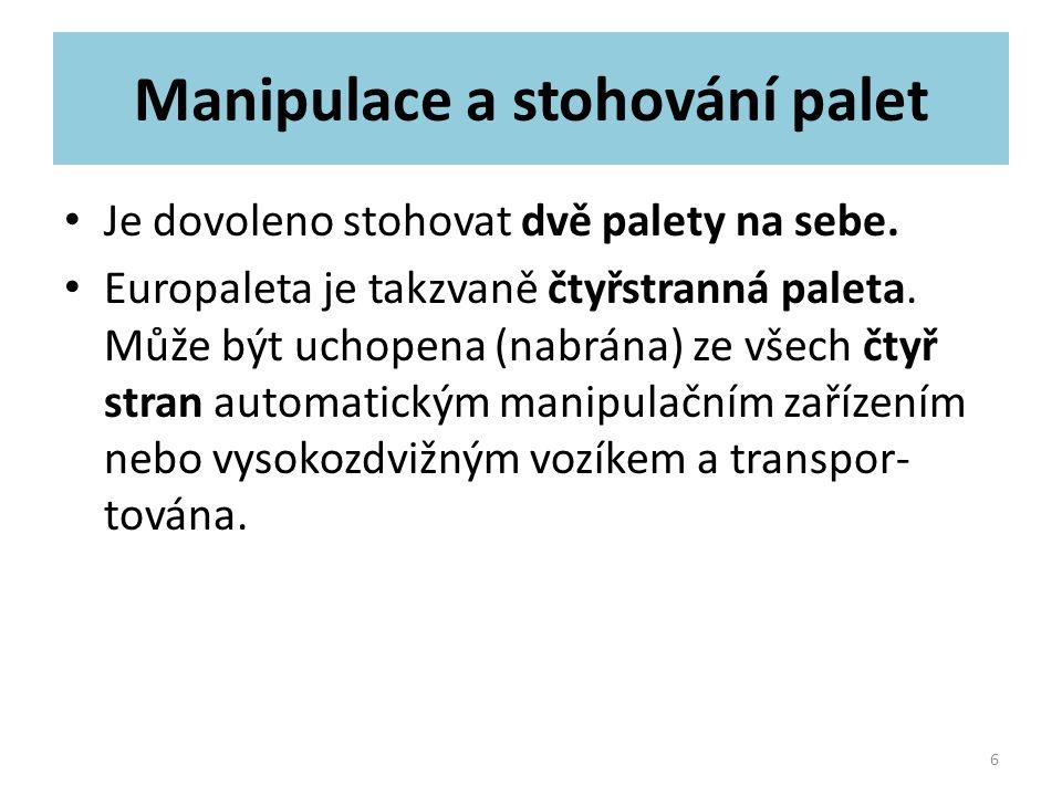 Manipulace a stohování palet Je dovoleno stohovat dvě palety na sebe. Europaleta je takzvaně čtyřstranná paleta. Může být uchopena (nabrána) ze všech