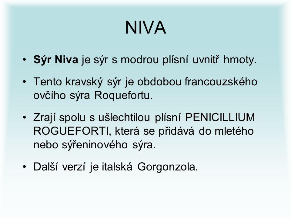 NIVA Sýr Niva je sýr s modrou plísní uvnitř hmoty.