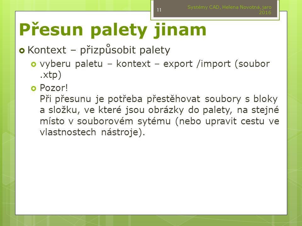 Přesun palety jinam  Kontext – přizpůsobit palety  vyberu paletu – kontext – export /import (soubor.xtp)  Pozor.