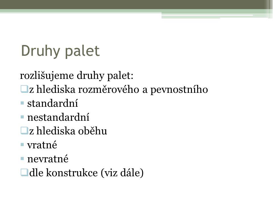 Druhy palet rozlišujeme druhy palet:  z hlediska rozměrového a pevnostního  standardní  nestandardní  z hlediska oběhu  vratné  nevratné  dle konstrukce (viz dále)