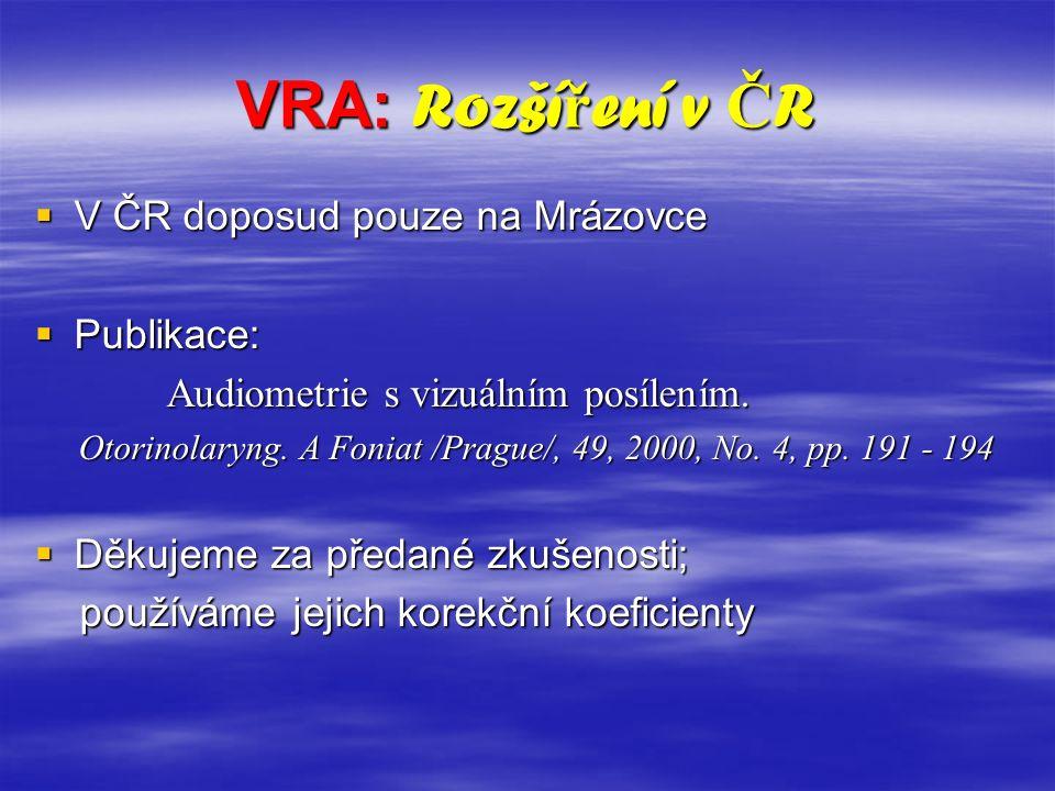 VRA: Rozší ř ení v Č R  V ČR doposud pouze na Mrázovce  Publikace: Audiometrie s vizuálním posílením. Audiometrie s vizuálním posílením. Otorinolary